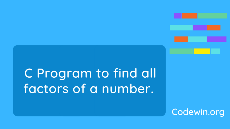 C Program to find all factors of a number.